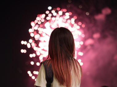 Woman Watching Fireworks